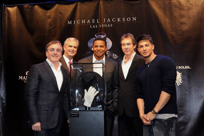 Daniel Lamarre, president and CEO of Cirque du Soleil; Chuck Bowling, president and COO of Mandalay Bay; Jackie Jackson, brother of Michael Jackson; John Branca, co-executor of The Michael Jackson Estate; and Jamie King, writer and director of <em>Michael Jackson: The Immortal World Tour</em>, at Mandalay Bay on April 27, 2011.