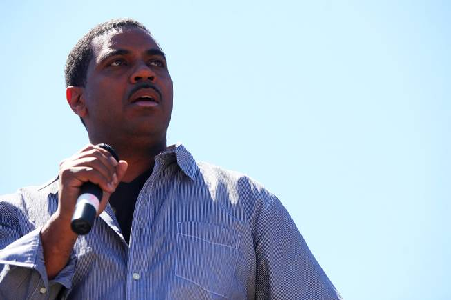 State Sen. Steven Horsford, D-North Las Vegas, addresses hundreds gathered Saturday, April 30, 2011, at Cashman Field to protest proposed cuts to education.