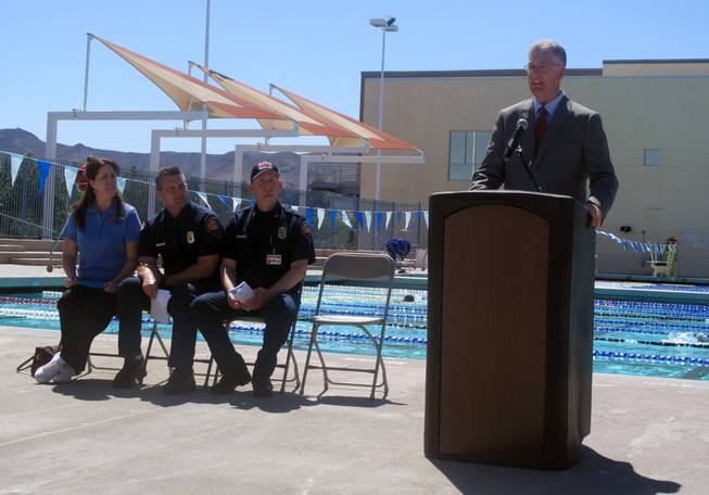 Henderson Mayor Andy Hafen announces the launch of an anti-drowning campaign Monday at the Henderson Multigenerational Aquatic Facility. Drowning is the leading accidental cause of death for young children in Southern Nevada.