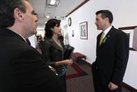 Gov. Brian Sandoval, right, talks with advisors Dale Erquiaga and Heidi Gansert outside an education budget hearing Tuesday, May 3, 2011, at the Legislature in Carson City. Sandoval delivered a televised address Tuesday evening about his budget proposal and his stance to not raise taxes.