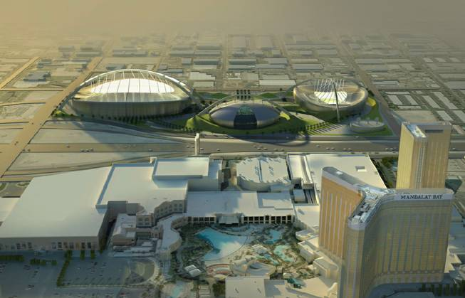 A rendering of the proposed stadium complex behind Mandalay Bay.