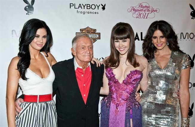 Jayde Nicole, Hugh Hefner, Claire Sinclair and Hope Dworaczyk at the 2011 Playmate of the Year announcement and celebration at the Palms on May 6, 2011.