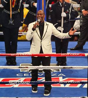 Tyrese Gibson sings the national anthem at Manny Pacquiao vs. Shane Mosley at MGM Grand Garden Arena on May 7, 2011.