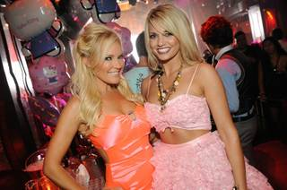Bridget Marquardt and Angel Porrino enjoy a double date at Tryst at the Wynn on May 7, 2011.