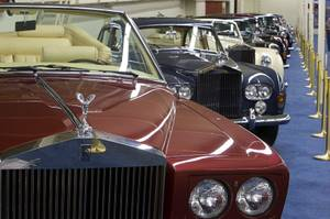 A row of Rolls Royce cars are displayed at The Auto Collections at the Imperial Palace Monday, May 9, 2011.
