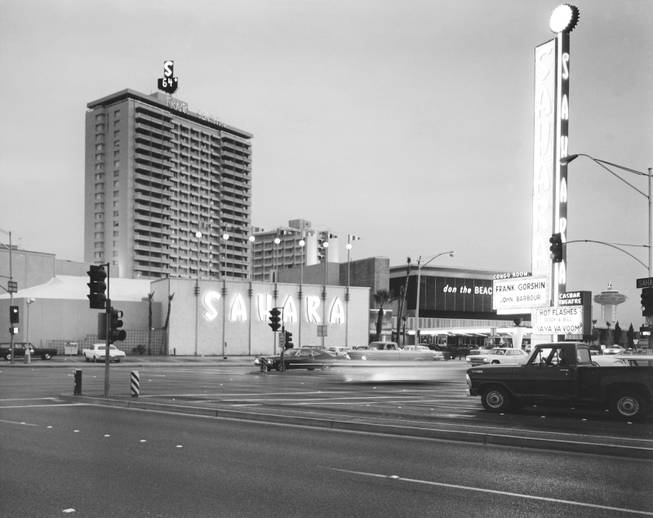 Exterior of the Sahara Hotel at dusk  02/15/71