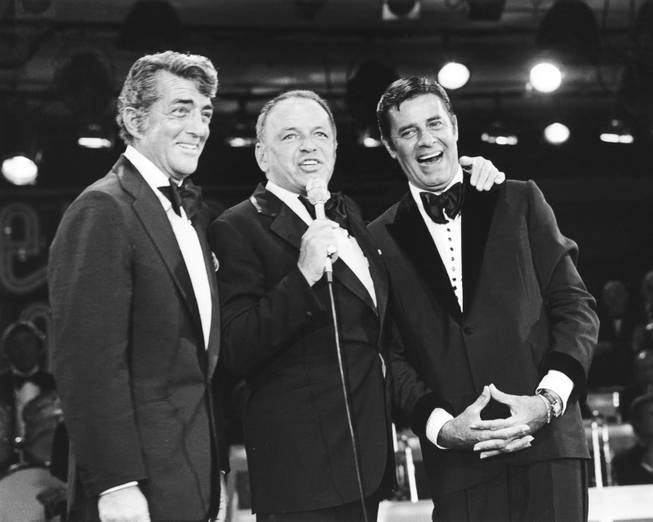 Frank Sinatra, Dean Martin and Jerry Lewis at the Jerry Lewis Muscular Dystrophy Telethon at the Sahara on Sept. 5, 1976.