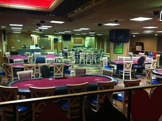 The poker room at the Sahara, inactive during the drawing for the cash giveaway.