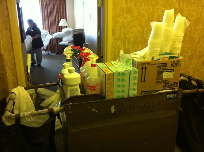 A Sahara housekeeping supply cart, on the hotel's 24th floor.