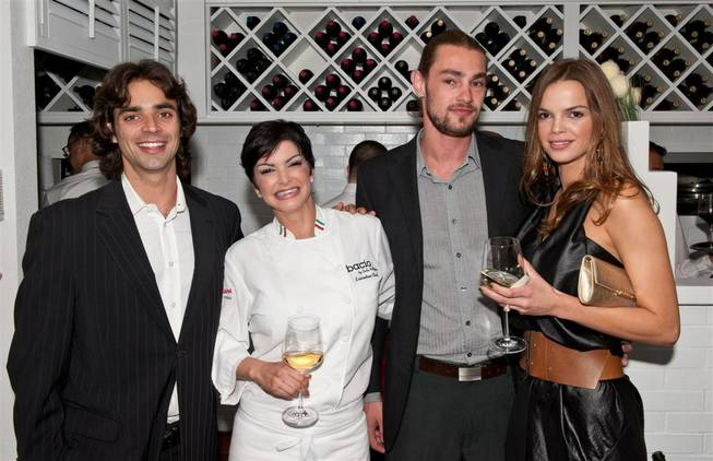 The grand opening VIP and media party of Bacio by Carla Pellegrino at Tropicana on May 17, 2011. Chef Pellegrino is pictured here with her daughter, Marcelle Braga, and two guests.