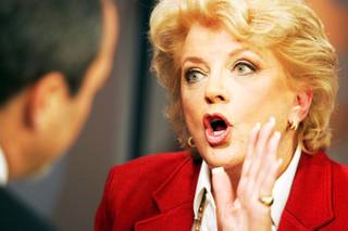 Las Vegas mayoral candidate Carolyn Goodman debates with Chris Giunchigliani on