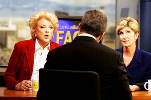 "Las Vegas mayoral candidates Carolyn Goodman and Chris Giunchigliani debate on ""Face to Face with Jon Ralston"" inside the Channel 3 studio in Las Vegas Wednesday, May 18, 2011."
