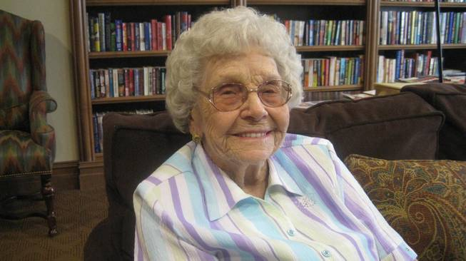 Mildred Myers, quick to smile, shown at Las Ventanas as she approaches 100.