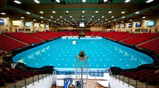The 600,000-gallon indoor pool at South Point created for H2X on May 19, 2011.