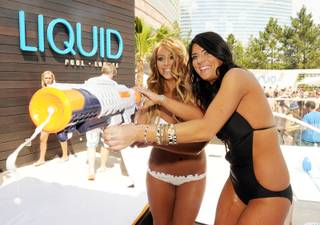 Aubrey O'Day and Krystan Bronson host at Liquid Pool Lounge at Aria on May 21, 2011.