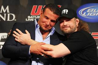 Heavyweight opponents Frank Mir, left, and Roy Nelson joke around while facing off during a news conference in advance of UFC 130 Wednesday, May 25, 2011.