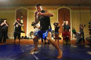 Brian Stann shadow boxes during open workouts for UFC 130 Thursday, May 26, 2011.  Stann will face Jorge Santiago in a middleweight bout on Saturday.