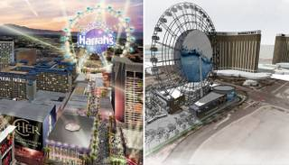 If all goes according to plan, two giant observation wheels will dot the Las Vegas skyline. These artist renderings show the two wheels. At left, Caesars Entertainment is planning to erect one near O'Sheas as part of Project Linq. (The rendering is from 2009, when Caesars was known as Harrahs Entertainment.) At right is the Skyvue Las Vegas Super Wheel project, which has already broken ground at a site near Mandalay Bay.