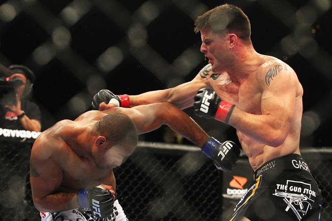 Brian Stann and Jorge Santiago trade punches during their fight at UFC 130 Saturday, May 28, 2011 at the MGM Grand Garden Arena. Stann won by TKO.