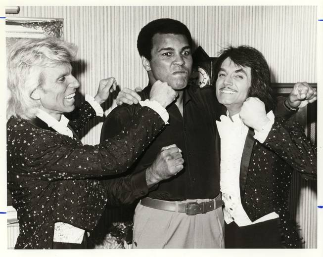 Controversial and whimsical, flamboyant and powerful, few legends encapsulate Old Vegas like headliners Siegfried and Roy. Here, during a photo-op in October 1980, the pair throw faux punches at boxing icon Muhammad Ali; all of whom have been represented by Bernie Yuman. The Greatest and magicians of a past era, joking around like kids. Now this is Old Vegas.