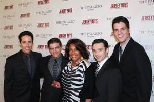 Mary Wilson is flanked by <em>Jersey Boys</em> stars Jeff Leibow, Deven May, Rick Faugno and Peter Saide.