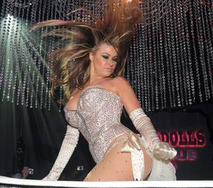 Carmen Electra at the Pussycat Dolls Burlesque Saloon grand opening at Planet Hollywood on June 4, 2011.
