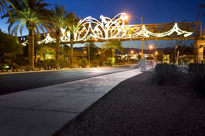 A northbound view of the Cultural Corridor Trail Pedestrian Bridge over Las Vegas Boulevard North between Bonanza Road and Washington Avenue, June 5, 2011.
