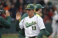 Spring Valley High graduate Tyler Anderson is greeted by teammates this spring following a solid performance for the University of Oregon baseball team. He is projected as a first-round draft pick in Monday's draft.