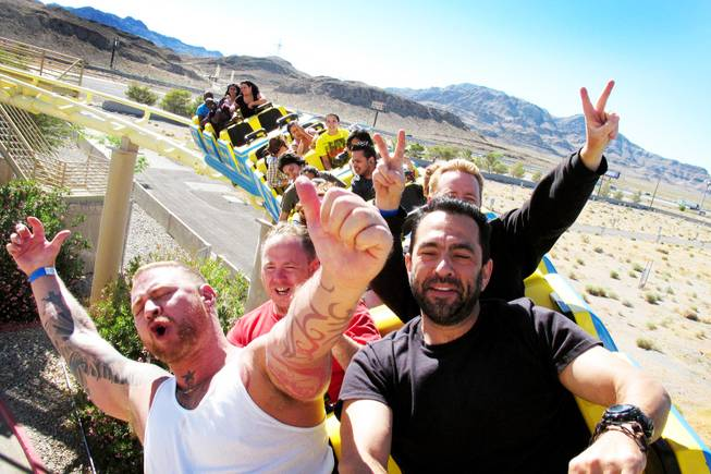 Daryl Terry and Brian Cordova of Las Vegas ride the Desperado roller coaster at Buffalo Bill's in Primm on Monday, June 6, 2011.