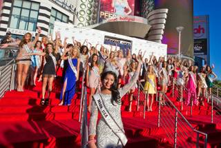 The 2011 Miss USA Pageant welcome ceremony with Jeff Timmons and 2010 Miss USA Rima Fakih at Planet Hollywood on June 6, 2011.