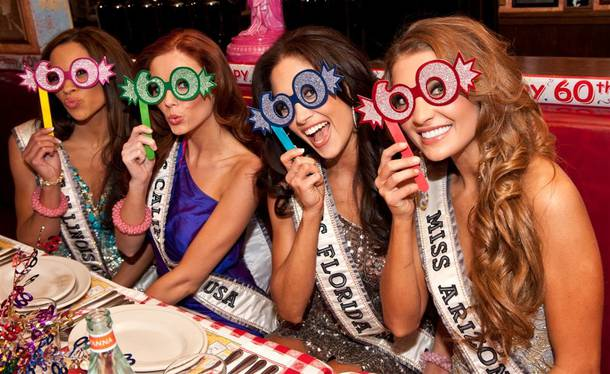 The 2011 Miss USA Pageant contestants at Buca di Beppo on June 6, 2011.