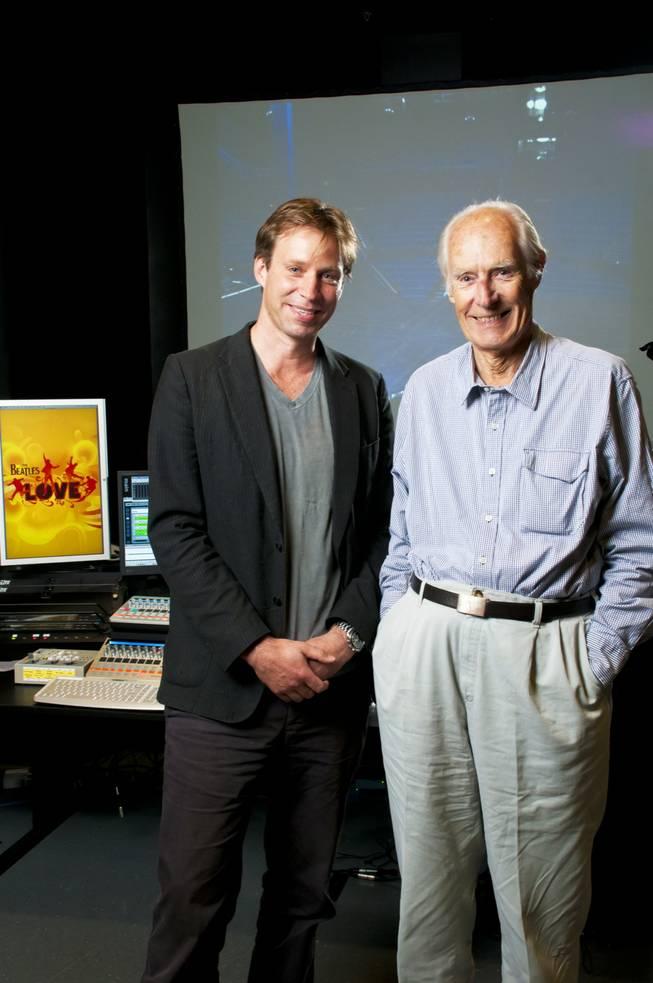 Giles Martin and his father, Sir George Martin, in the listening room at The Love Theater at the Mirage on Tuesday, June 7, 2011.