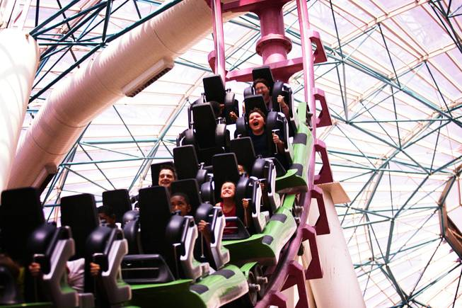 The Canyon Blaster roller coaster is seen at the Adventuredome Theme Park at Circus Circus in Las Vegas on Tuesday, June 7, 2011.