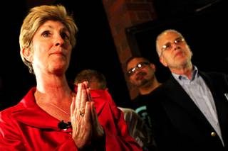 Mayoral candidate Chris Giunchigliani thanks her volunteers after conceding to Carolyn Goodman at her campaign headquarters in Las Vegas Tuesday, June 7, 2011.