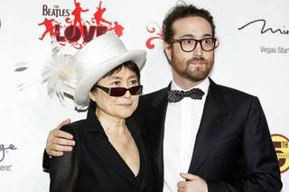 Yoko Ono and Sean Lennon arrive for the fifth-anniversary celebration of