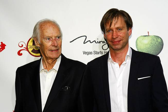 "Music producers Sir George Martin and Giles Martin arrive for the fifth-anniversary celebration of ""The Beatles Love by Cirque du Soleil""  at the Mirage on Wednesday, June 8, 2011."