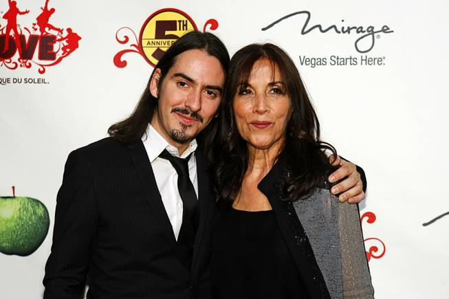 "Recording artist Dhani Harrison and his mother Olivia Harrison arrive for the fifth-anniversary celebration of ""The Beatles Love by Cirque du Soleil""  at the Mirage on Wednesday, June 8, 2011."