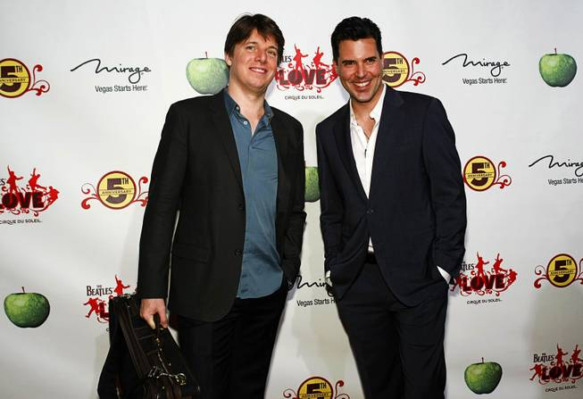 Violinist Joshua Bell and musician Frankie Moreno arrive for the fifth-anniversary celebration of <em>The Beatles Love by Cirque du Soleil</em> at the Mirage on June 8, 2011.