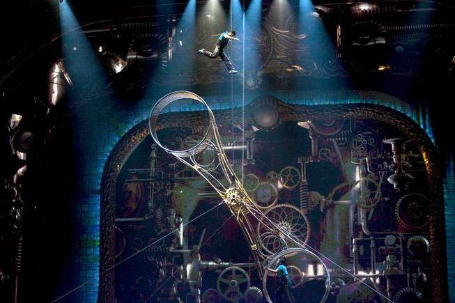 "The Wheel of Death act is performed during Cirque du Soleil's ""Zarkana."""