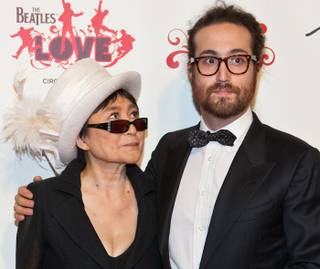 Yoko Ono Lennon and Sean Lennon at the fifth-anniversary celebration of The Beatles Love by Cirque du Soleil at the Mirage on June 8, 2011.