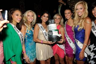 2011 Miss USA Pageant contestants at a party presented by swimwear Kandy Wrappers at Tao in the Venetian on June 9, 2011.