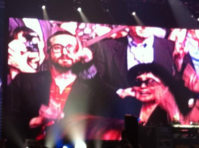 "Sean Lennon and Yoko Ono, shown on an MGM Grand Garden Arena video panel, during ""Give Peace a Chance"" at Friday's Paul McCartney concert."