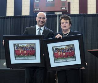 Andre Agassi and Billie Jean King during the Class of 2011 graduation at Andre Agassi College Preparatory Academy on June 11, 2011.