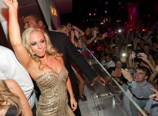 Hank Baskett and Kendra Wilkinson-Baskett celebrate her 26th birthday at the Venus Pool Club and Pure at Caesars Palace on June 11, 2011.