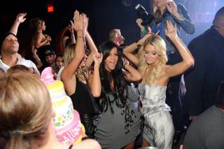 Nicky Hilton, Allison Melnick and Paris Hilton celebrate Melnick's 40th birthday at Marquee at Cosmopolitan on June 11, 2011.