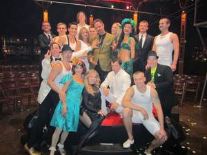 David Arquette and the cast of <em>Absinthe</em> at Caesars Palace.