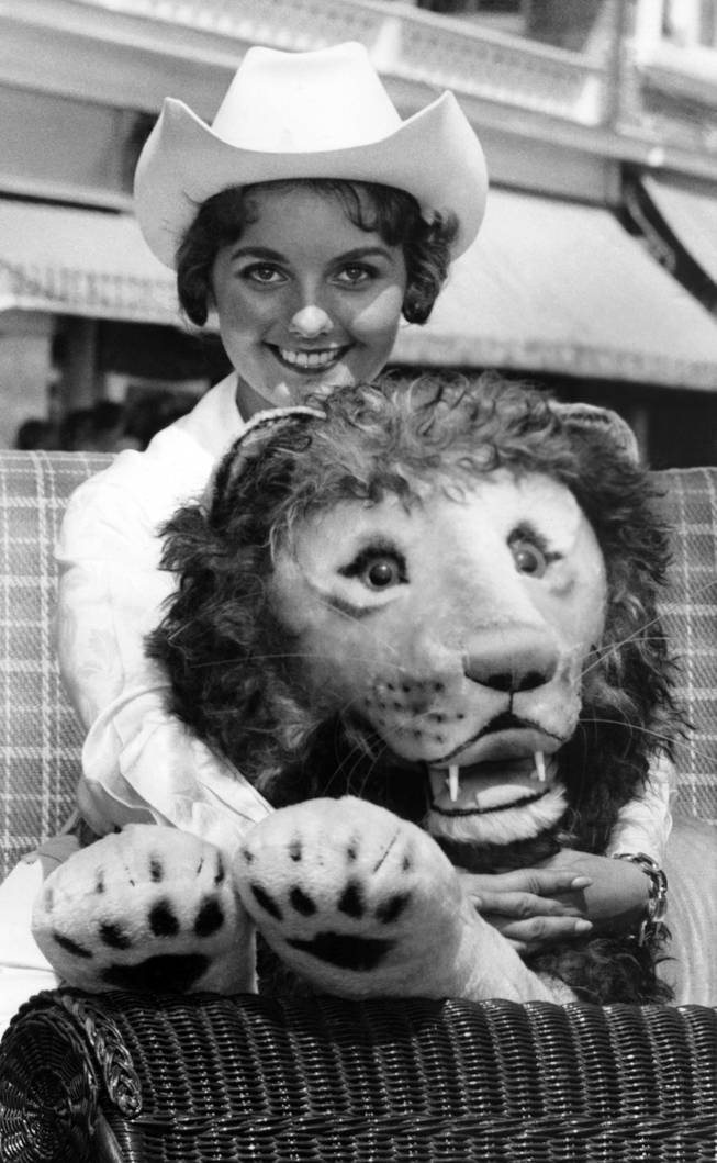 Miss Nevada, Dawn Elberta Wells, of Reno, poses with a 50 pound stuffed lion in an Atlantic City Sept. 8, 1959 rolling chair on this resort city's boardwalk during a lull in start of the week long Miss America pageant. Miss Nevada will compete against 53 other beauties from all parts of the United States for the coveted title of Miss America pf 1960.