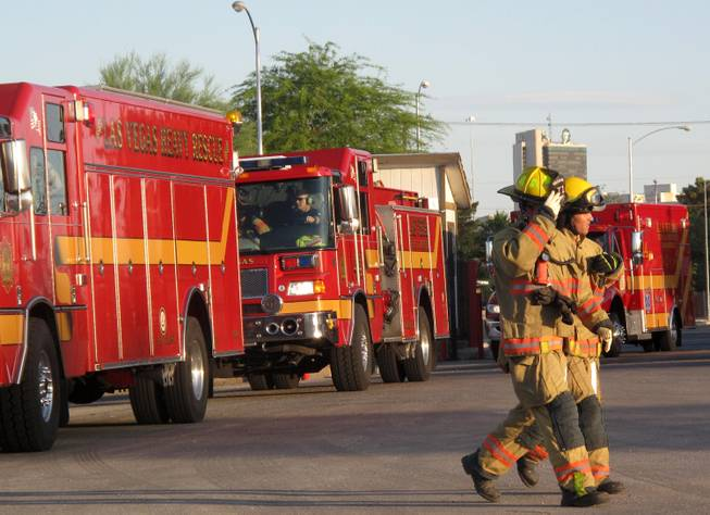 Firefighters from Las Vegas, North Las Vegas and Clark County participated in a mock mass casualty accident training Friday night.  The drill simulated a multiple vehicle accident where more than a dozen people had injuries.