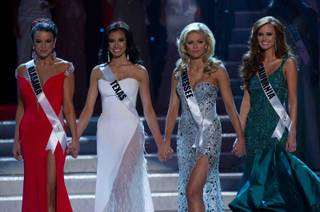 Top Four finalists Miss Alabama USA 2011 Madeline Mitchell, Miss Texas USA 2011 Ana Christina Rodriguez, Miss Tennessee USA 2011 Ashley Durham and Miss California USA 2011 Alyssa Campanella during the 2011 Miss USA Pageant at Planet Hollywood on June 19, 2011.