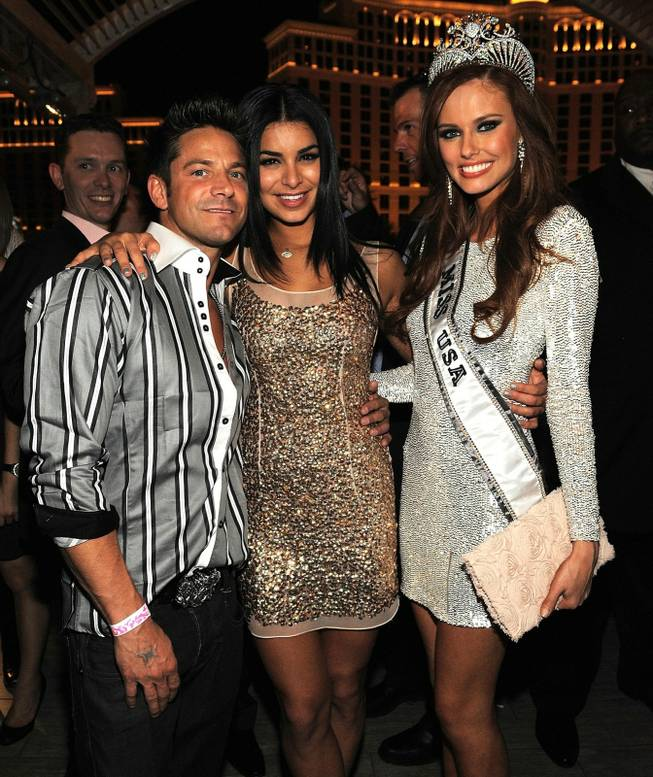 Jeff Timmons, 2010 Miss USA Rima Fakih and 2011 Miss USA Alyssa Campanella attend the official 2011 Miss USA Pageant after-party at Chateau Nightclub & Gardens at the Paris on June 19, 2011.
